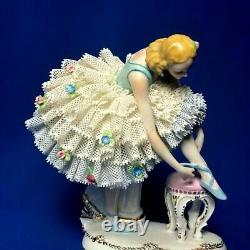 Vintage original porcelain lace figurine sitzendorf ballerina Rare Germany
