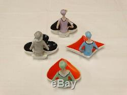 Vtg 1920's Porcelain FLAPPER Figurine Nut Dishes Cloche Hats Lot of 4 Germany