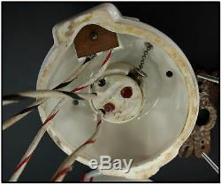 Vtg Antique Porcelain Art Deco Wall Sconce Light Pair White Milk Glass Shades
