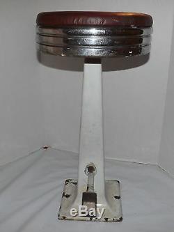 Vtg Art Deco Cast Iron White Porcelain Swivel Ice Cream Soda Fountain Bar Stool