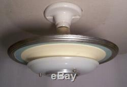 Vtg Art Deco Ceiling Light Fixture Saucer Screw-In Porcelain Rewired USA #D31