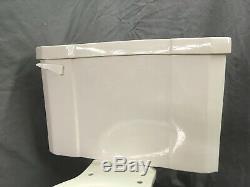 Vtg Art Deco Ceramic White Porcelain Complete Toilet Bowl Tank Lid Case 30-19E