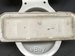 Vtg Art Deco Ceramic White Porcelain Complete Toilet Bowl Tank Lid Case 596-18E
