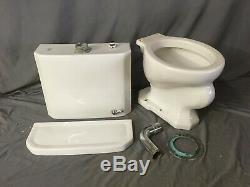 Vtg Art Deco Ceramic White Porcelain Toilet Bowl Tank Lid Kohler Sibley 444-19E