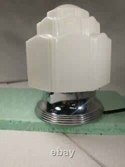 Vtg Art Deco Flush Mount Porcelain Ceiling Light Fixture Skyscraper Shade