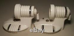 Vtg Art Deco Porcelain Sconce Light Fixture Silver Shade Pair 2 Rewired USA #C24