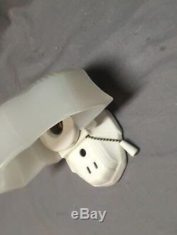 Vtg Art Deco White Porcelain Thick Glass Slip Shade Light Fixture Old 514-18E