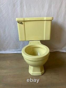 Vtg Deco Mid Century Yellow Porcelain Complete Toilet Bowl Tank Lid Old 654-20E
