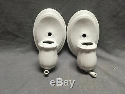 Vtg Deco Pair Ceramic White Porcelain Bathroom Floral Wall Lights Sconce 265-20E