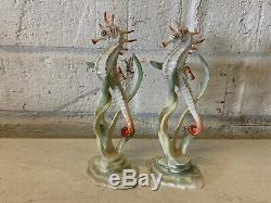 Vtg German Hutschenreuther Porcelain Pair Achtzinger Design Seahorse Figurines