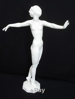 Vtg Hutschenreuther Art Deco Porcelain Dancing Nude Lady By C. Werner Mint 9.25