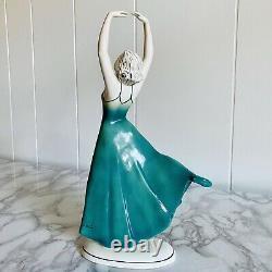Vtg Katzhutte Hertwig German Porcelain Art Deco Dancer Lady Figurine A Rare Pose