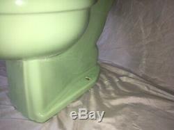 Vtg Mid Century Art Deco Jadeite Green Porcelain Toilet Bowl Tank Lid 148-20E