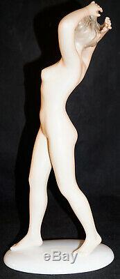 Wallendorf Art Deco Porcelain Nude Germany Figurine Walking Hands Above Head