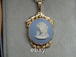 Wedgwood Yellow gold Blue Jasper Cameo necklace original box
