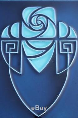 Wonderful Belgium Hemixem Blue Art Nouveau / Art Deco Ceramic Tile Flower #753