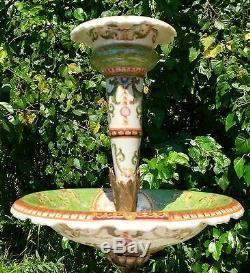 Wong Lee Olive Green Art Deco Fluted Porcelain & Bronze Maiden Sculpture Vase
