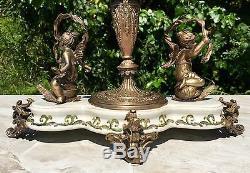 Wong Lee Olive Green Art Deco Porcelain & Bronze Cherub Statues Pedestal Bowl