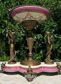 Wong Lee Pink Art Deco Porcelain & Bronze Maiden Statues Pedestal Bowl