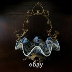 Wong Lee WL 1895 Blue White Art Deco Porcelain Pottery Bowl Basket