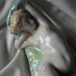 Zsolnay 1930 Porcelain Art Deco Nude Girl Naked Hot Lady Figure Sculpture Statue